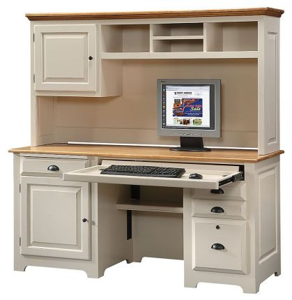 California Made Solid Wood Office Desk, Hutch Office Desk